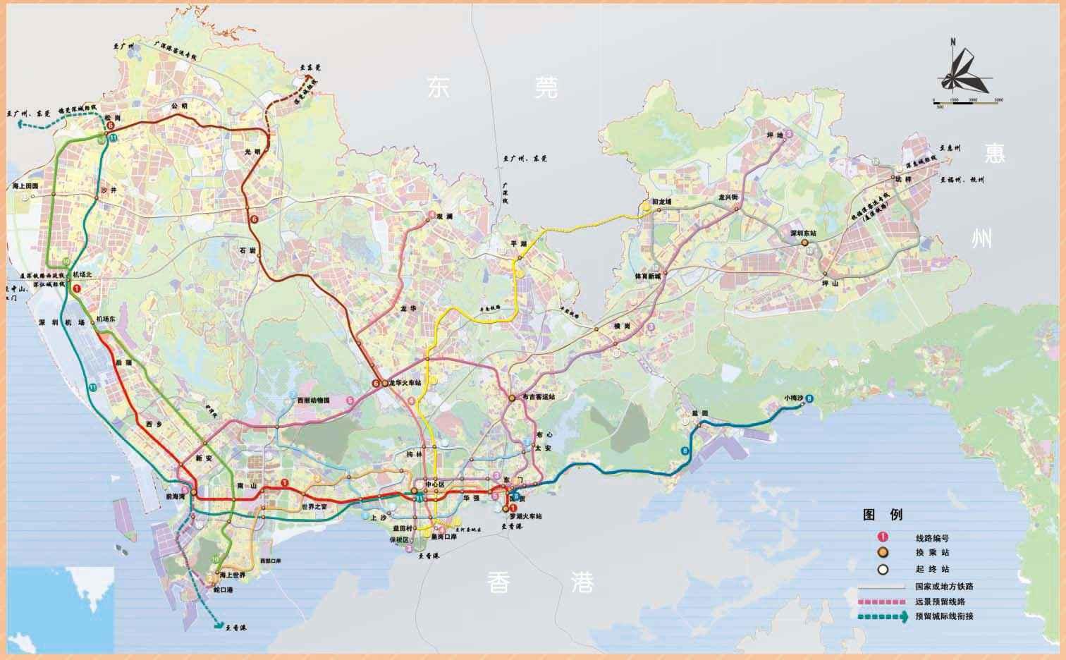深圳远期轨道交通线网方案(至2030年)